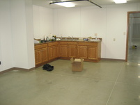 Inside the nearly completed breakroom